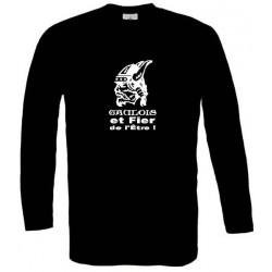tee-shirt manches longues noir. tête de gaulois barbu. Mention Gaulois et fier de l'être !