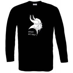 t-shirt manches longues noir Tête de Gaulois de Profil  Droit devant !