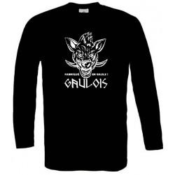"""t-shirt noir manches longues sanglier Gaulois. Mention """"fabriqué en Gaule""""."""