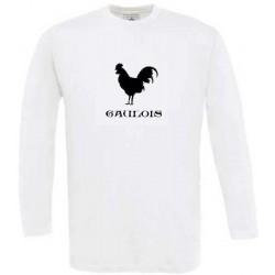 """t-shirt blanc manches longues coq avec mention """"gaulois""""."""