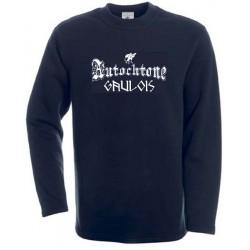 t-shirt noir manches longues autochtone petite tête de gaulois. avec mention gaulois.