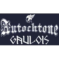 détails du tee-shirt noir manches longues autochtone petite tête de gaulois. avec mention gaulois.
