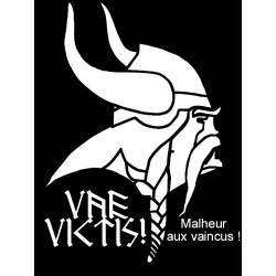 détail du t-shirt Noir Gaulois avec devise de Brennus. Vae victis. Malheur aux vaincus !