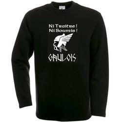 """sweat-shirt Noir grande tête de Gaulois avec mention """"ni traitre, ni soumis !"""".gaulois !"""