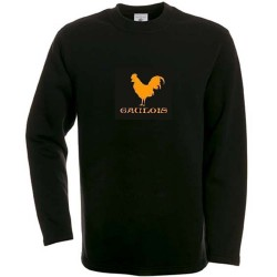 sweat-shirt Noir coq gaulois orange.!