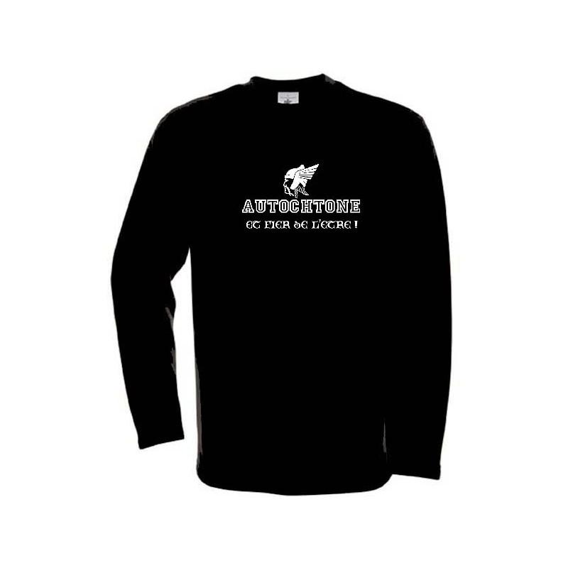 """sweat-shirt autochtone gaulois. noir. Mention """"autochtone et fier de l'être !"""""""