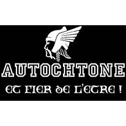 """détails du sweat-shirt autochtone gaulois. noir. Mention """"autochtone et fier de l'être !"""""""