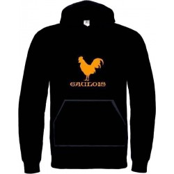 Sweat capuche coq Gaulois. Orange Grandes tailles