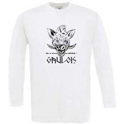 """tee-shirt sanglier gaulois. Avec mention """"gauloise"""" née et élevée en gaule."""
