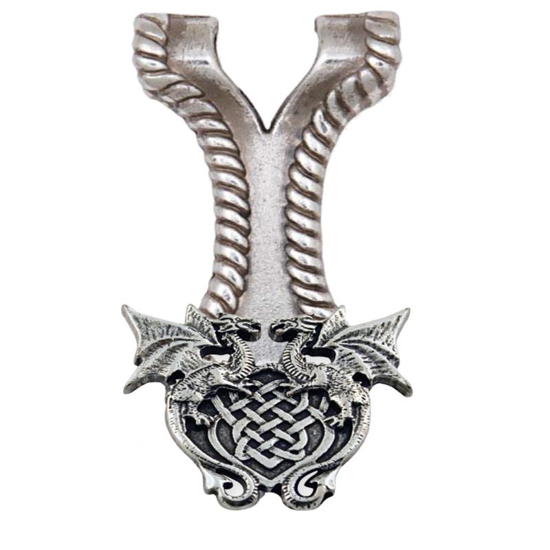 Pendentif Concho Celtique dragon Celtique à vis sur Adaptateur avec cordon.