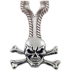 Pendentif Tête de Mort sur Adaptateur à vis. Métal inoxydable. avec cordon de 45 cm