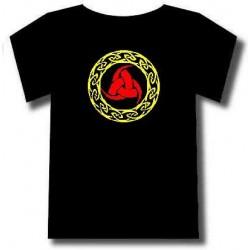 Tee-shirt motif celtique triskel et entrelacs. Deux couleurs