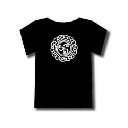 Tee-shirt Celtique motif blanc Triskel et entrelacs nordiques