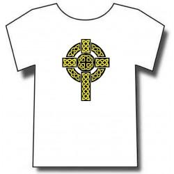 Croix celtique chrétiennes . motif jaune sur fond noir. T-shirt Blanc.