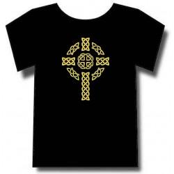 Croix celtique avec entrelacs nordiques sur t-shirt Noir.