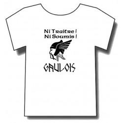 """t-shirt Gaulois avec devise """"Ni traitre,ni soumis""""."""