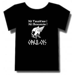 t-shirt Noir Gaulois Ni traitre,ni soumis. pour les gaulois fiers.