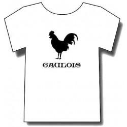 "T-shirt Blanc coq  ""Gaulois"" motif Noir"