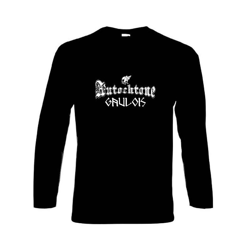t-shirt noir manches longues autochtone gaulois. mention gaulois